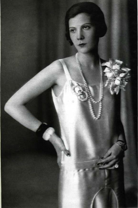Elegant silk sheath flapper dress with perfect suite of accessories and details...Natalia Paley in Lucien Lelong, 1920s