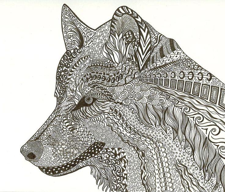 Zen Wolf By J Richards Zentangle Inspired Art Wolf Art