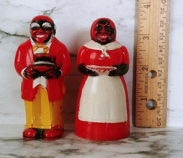 Vintage AUNT JEMINA Uncle Mose Salt & Pepper Shaker Set, F & F Mold & Die Works