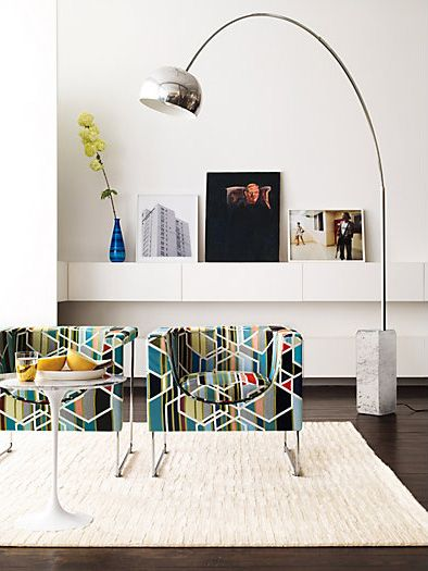 "Arco floor lamp from Design Within Reach. H 95""/7.9' (max) W 78.75""/6.56' (max)"