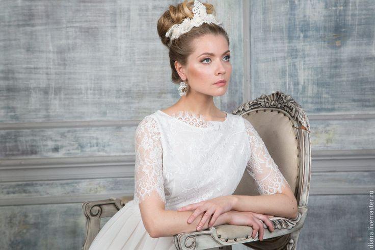 Купить Кружевной ободок невесты. - белый, вуалетка, свадебная вуалетка, белая вуалетка, шляпка невесты