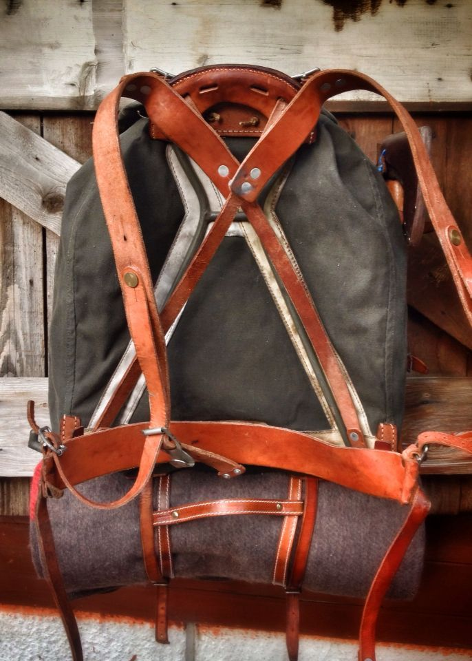 Vintage Swedish Army waxed canvas rucksack leather straps