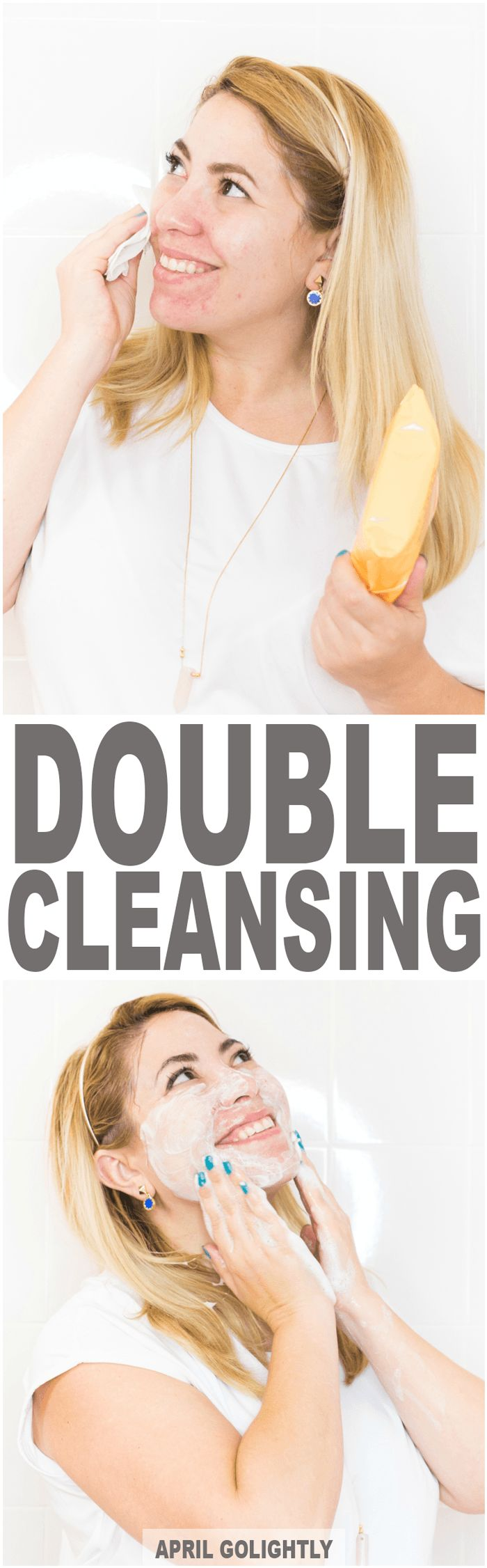 Double Cleanse Skin Care with makeup removing wipes and