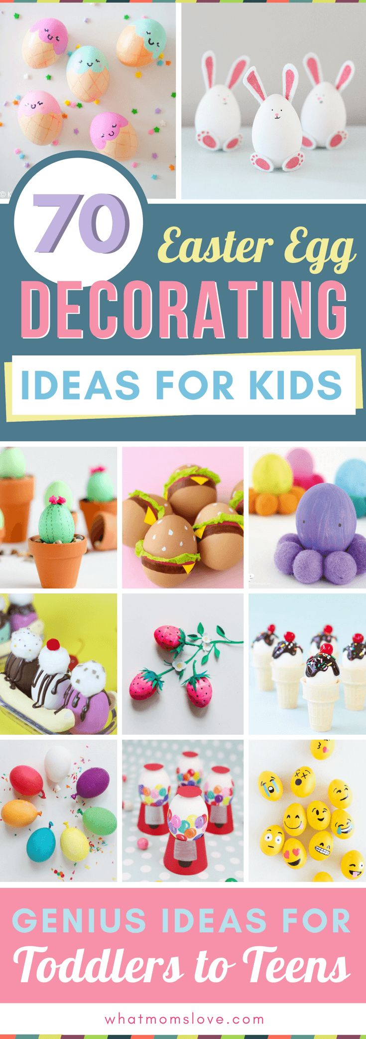 Easter Egg Decorating Ideas for Kids   Creative DIY ways to decorate your eggs - perfect for all children from toddlers to teens (or even adults!). Fun ideas for how to make awesome eggs using supplies like shaving cream, food coloring, paper, dye-free and free printables. Simple to do at home and awesome to display in your easter baskets! via @whatmomslove