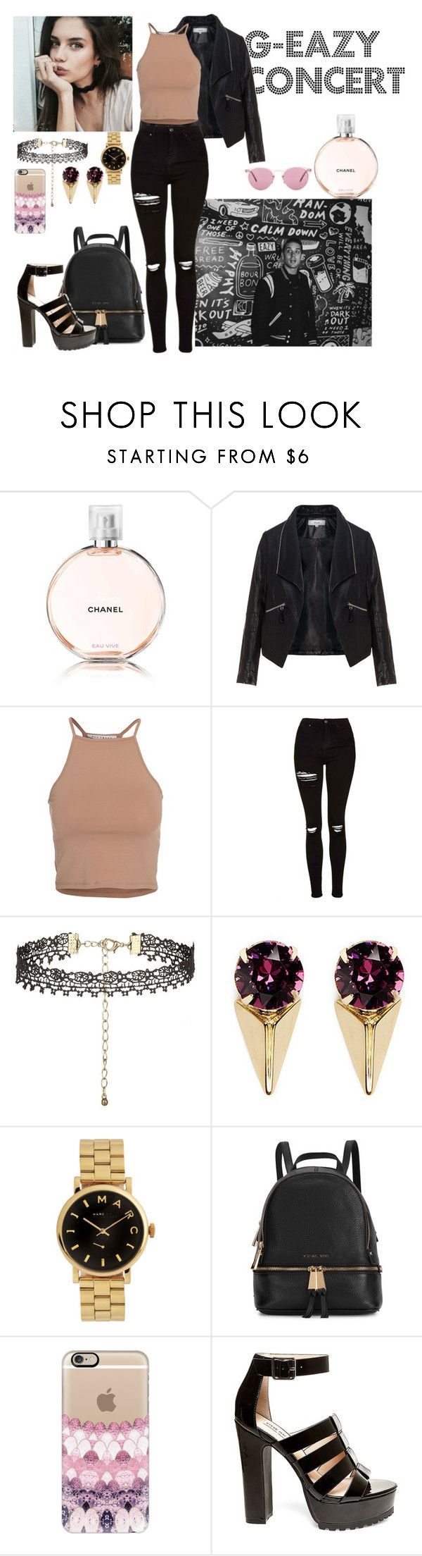 """G-eazy concert [LC]"" by i-m-penguin-purple974 ❤ liked on Polyvore featuring Chanel, Zizzi, NLY Trend, Topshop, Joomi Lim, Marc by Marc Jacobs, Michael Kors, Casetify, Steve Madden and Oliver Peoples"