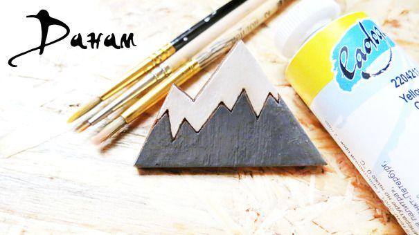 Ручная одежда Деревянная брошь/деревянный значок Горы