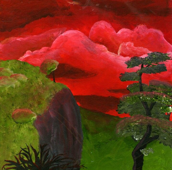 Landscape Painting By Lorienelf Red And Green Are