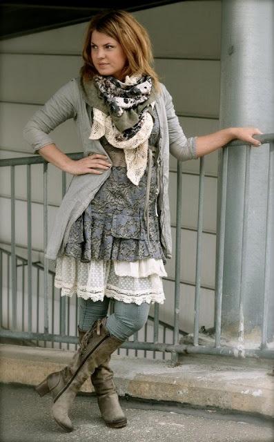 Dorothea: petticoats, layers, boots, leggings, sweater, scarf, lace