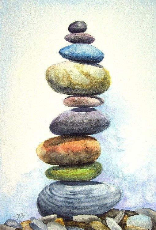 Stacked Rocks Watercolor Print by StudioFox on Etsy