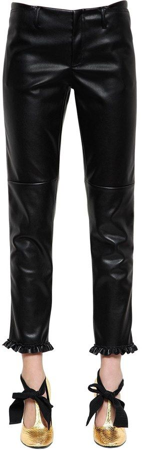 Philosophy di Lorenzo Serafini Faux Leather Pants W/ Ruffled Hem
