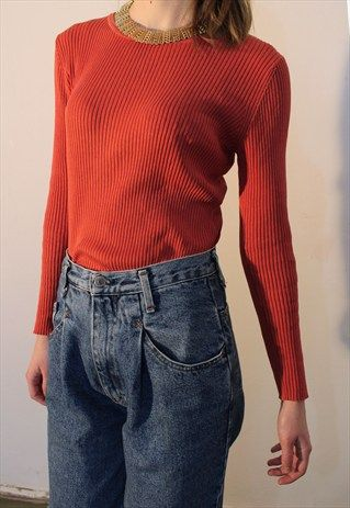 Red-Orange+Silk+Ribbed+Top