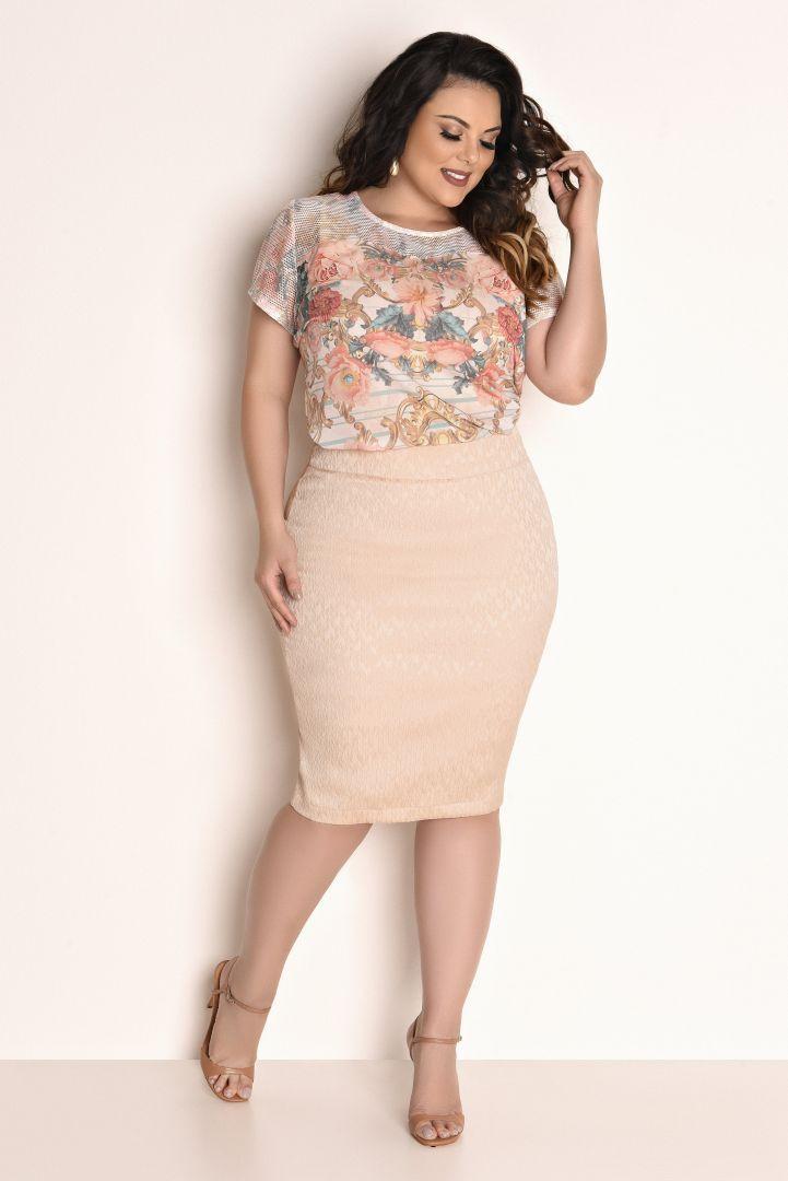 11248 Conjunto composto por saia confeccionada em jacquard de textura geométrica. Blusa confeccionada em crepe com mangas e palas em malha, … | costura in 2019 | Pinterest | Fashion, Plus Size Fashion and Chic outfits