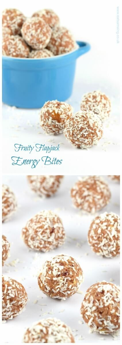 These delicious fruit flapjack homemade energy bites are nut free dairy free gluten free and vegan - great healthy snack recipe for kids from Eats Amazing UK