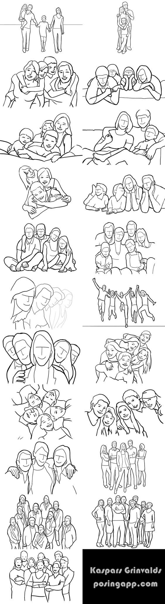 ideas for group poses... I know someone who needs this.: