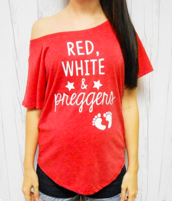 Red White Soft T-shirt and Preggers Pregnancy. Off-shoulder pregnancy …   – Pregnancy Announcements