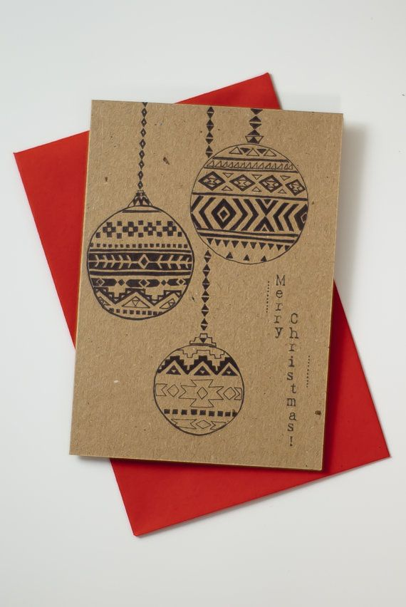 Aztec Baubles// Black & Brown// Recycled Christmas Card