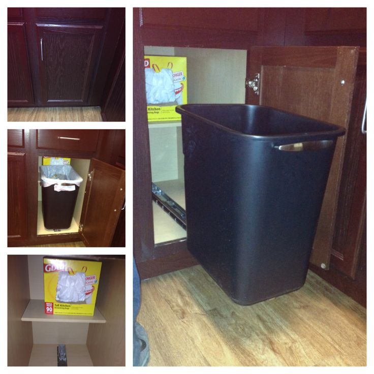 diy pull out trash can love my handy man trash can. Black Bedroom Furniture Sets. Home Design Ideas