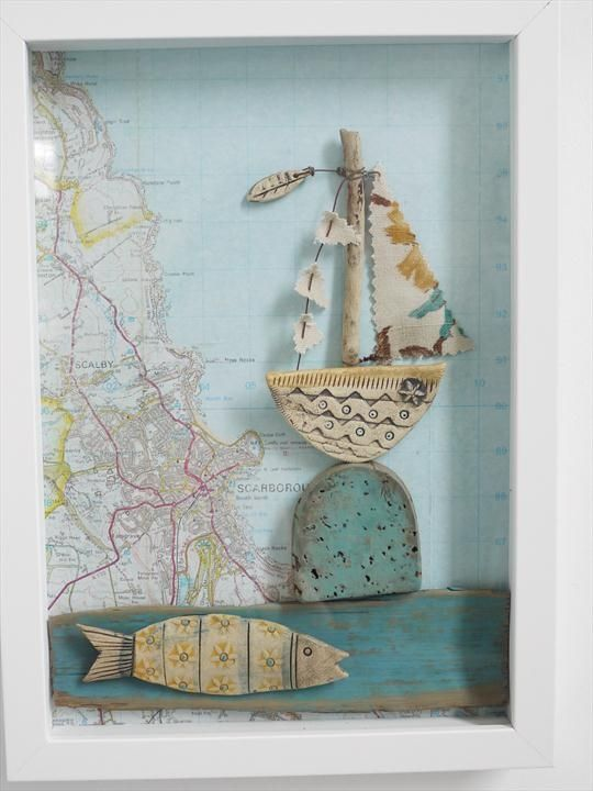Shirley Vauvelle, Sailing Past Brighton - framed / earthenware, vintage map, driftwood, paint