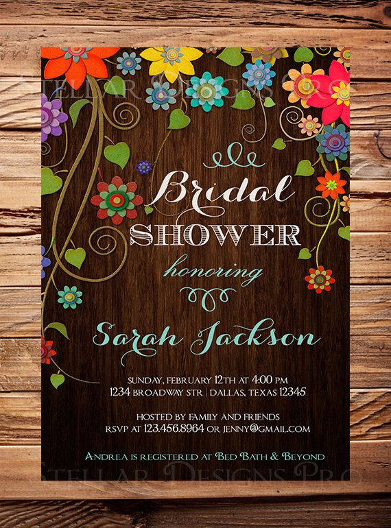 Wood Bridal Shower Invitation, Bridal Shower Invite, Floral, Yellow, Pink, wood, floral, digital, printable on Etsy, $21.00