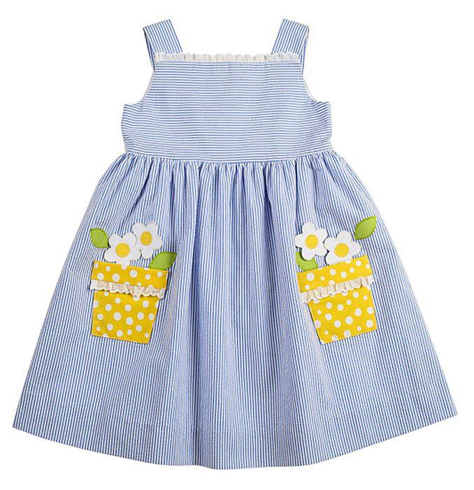 Florence Eiseman Girls Blue Seersucker Sun Dress with Yellow Daisy Pockets
