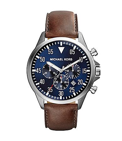 Michael Kors Mens Gage Brown Leather Strap Chronograph Watch #Dillards