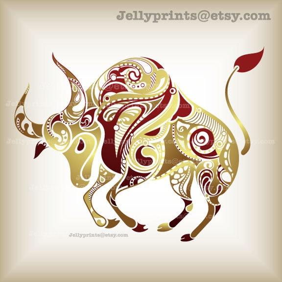 5 X 5 Printable Taurus Art Print --- Personal Use Only.--- JP 0080. $20.00, via Etsy.