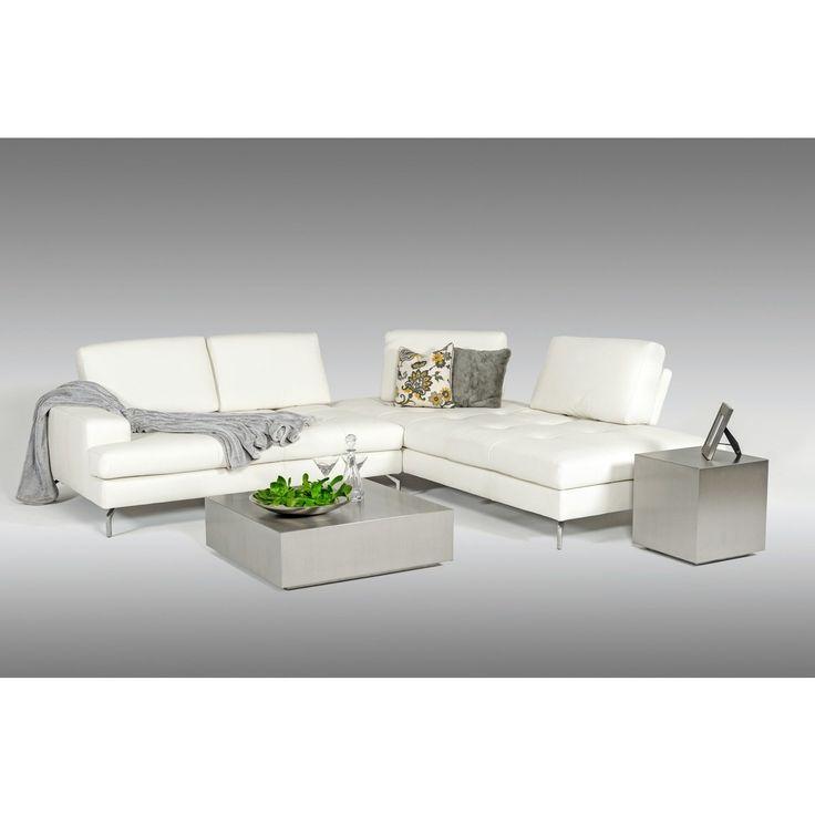 Estro Salotti Voyager Modern White Leather Sectional Sofa