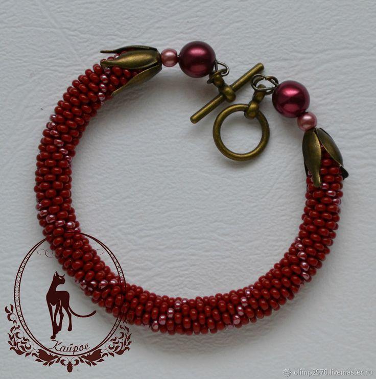 Купить Браслет из бисера - красный, бордовый, браслет, украшение, браслеты, украшения из бисера