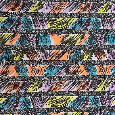 Vintage Fabric 80s 90s Rad eXtreme Purple Turquoise Orange Black Yellow Jersey
