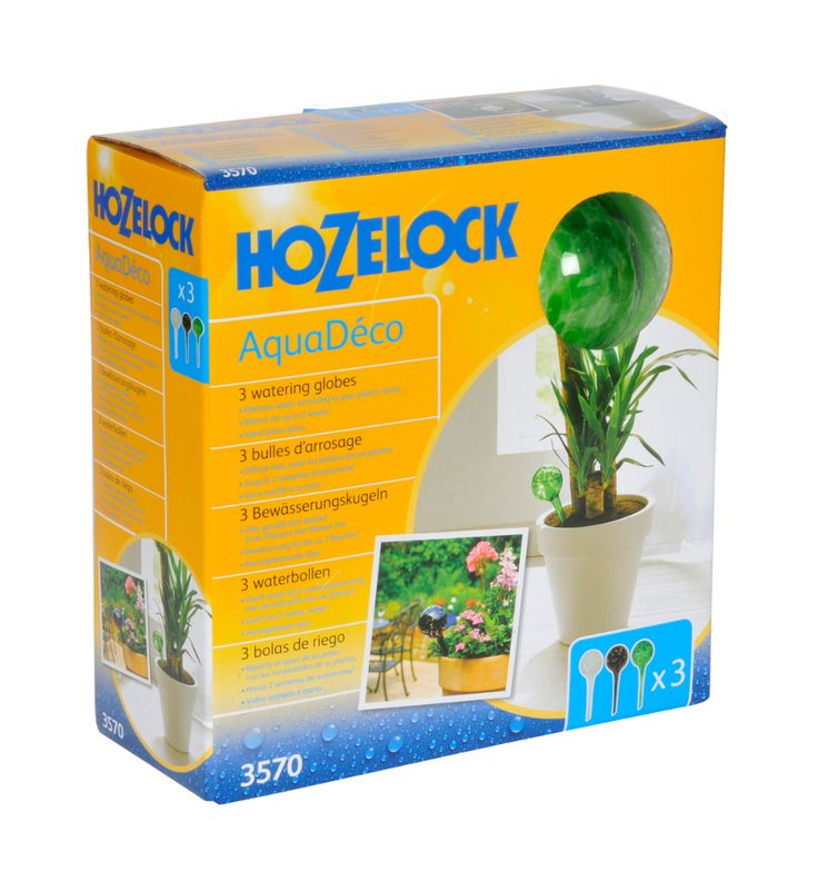 The Hozelock AquaDeco Watering Globes release water according to your plants needs. The hand blown glass globe will water for up to 2 weeks*.