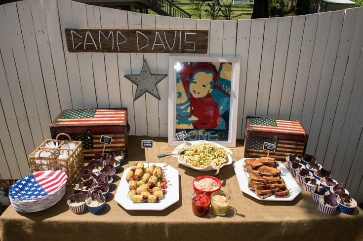 Camp Davis Birthday Party - spinoff of Camp David, with presidential accents. So well-executed!: Mo'N Davis, Camping David, Camping Davis, Camping Themed, Birthday Parties, Davis Birthday, First Birthday Party, Camping Party, Birthday Party Food