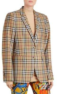 30403f79de Burberry Snowdon 2B Check Oversized Blazer. The oversized silhouette is  highlighted with the classic Burberry check. Self-covered buttons ensure  nothing ...