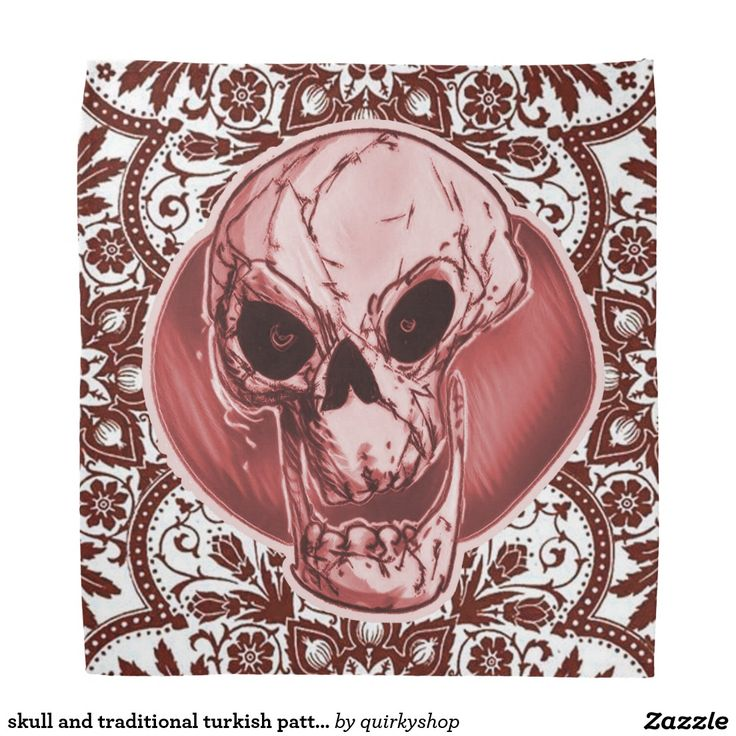 skull and traditional turkish pattern red tint bandana