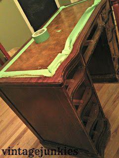 Vintage Junkies: Leather Top Desk Makeover