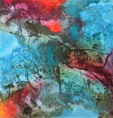"""opera astratta, titolo """"Riemergo"""" sabbia, sassi, colori acrilici"""