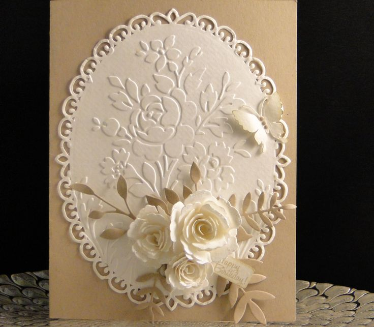 Bday card for Donna Aug 2016 Butterfly cut on Cameo, Memory Box Foliage, Spellbinder oval die, Anna Griffith EF Spellbinder roses, SU tag, SU Crumb Cake card stock for base and foliage and water color paper for embossed image and flowers. made by Peggy Dollar