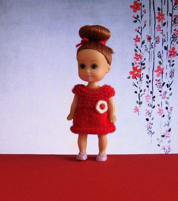 Miniature doll dress red doll dress dollhouse by CrochetKnitt