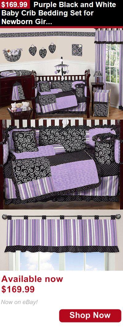Nursery Bedding Sets: Purple Black And White Baby Crib Bedding Set For Newborn Girl Sweet Jojo Designs BUY IT NOW ONLY: $169.99