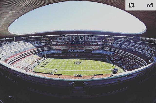 This is today!  @nfl ・・・ Estadio Azteca in Mexico City... @patriots vs. @raiders! #NEvsOAK #PatriotsEnMexico #RaidersEnMexico : Sunday (4:25pm ET) on CBS : @logan_bowles/NFL  #homesweethome #homemade #love #visitmexico #mexicocity  #cdmx #bedandbreakfast #aquisigo #gracias #friends #travel #loveislove #welcomehome #mexican #MadeinMexico #localsknow #safe #barriotequiero #nfl #azteca