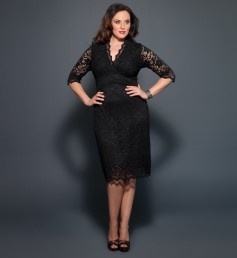 Plus Size Dresses - 3/4 Sleeved Scalloped Boudoir Lace Plus Size Cocktail Dress by Kiyonna