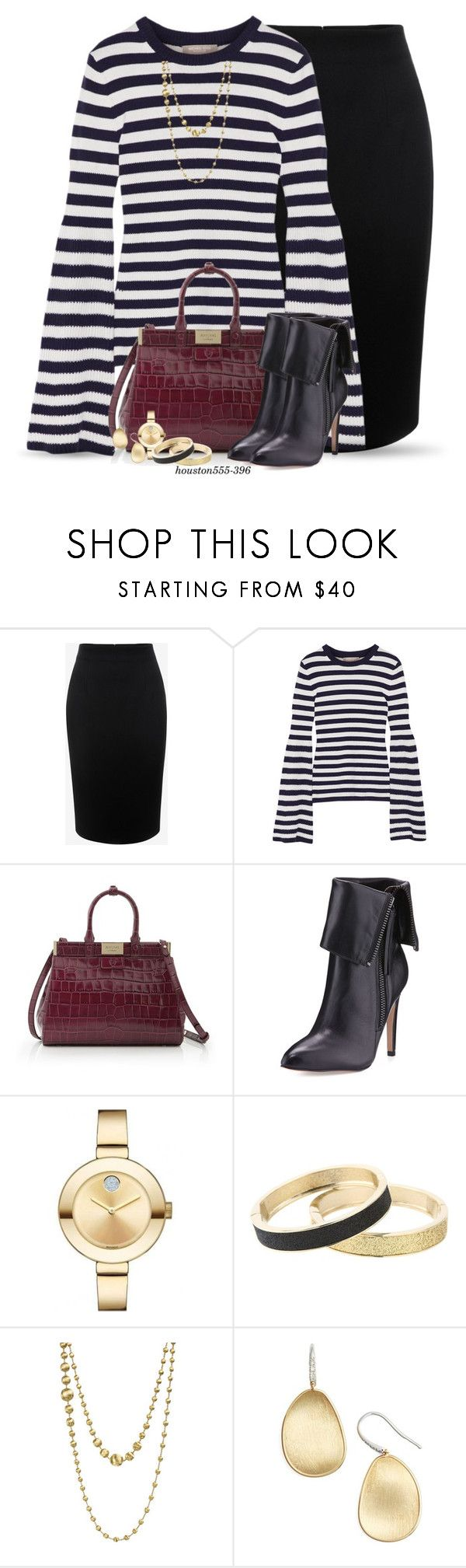 """""""Stripes for the office"""" by houston555-396 ❤ liked on Polyvore featuring Alexander McQueen, Michael Kors, Aspinal of London, Neiman Marcus, Movado, Betsey Johnson and Marco Bicego"""