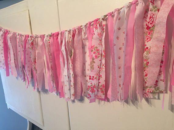 Shabby Chic Pink Rag Banner Nursery Rag Banner Shabby Chic