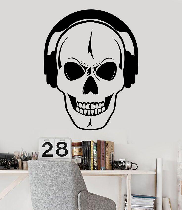 Vinyl Wall Decal Skull Headphones Music DJ Teen Room ...