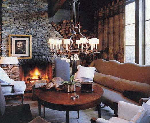 Stone Fireplace Round Coffee Table Family Room
