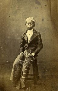 Indonesia Java Jakarta Young Boy Study Types Old CDV Photo Woodbury & Page 1860