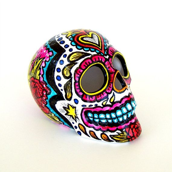 Ceramic Sugar Skull Sculpture Hand Painted Day of the by sewZinski, $65.00