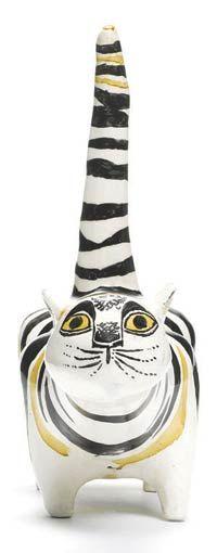 A ceramic cat by David Hockney