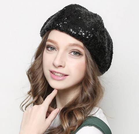 Fashion sequins French beret hat for girls spring wear