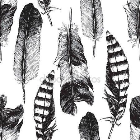 Bezešvé pattern s ručně tažené peří — Stocková ilustrace #81241804