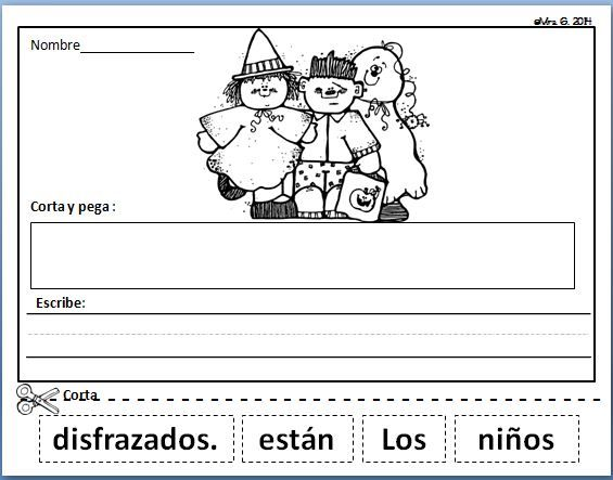 Spanish Scrambled Sentences. October Literacy Center in Spanish